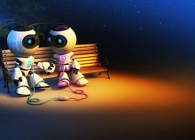 steam, love, robots, bench, couple, colors - desktop wallpaper