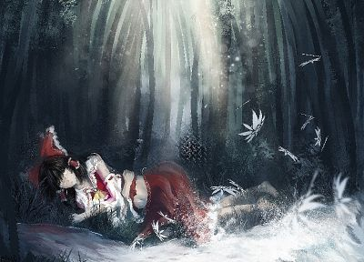 brunettes, Touhou, Miko, Hakurei Reimu, shrine maiden outfit, anime girls, detached sleeves - related desktop wallpaper