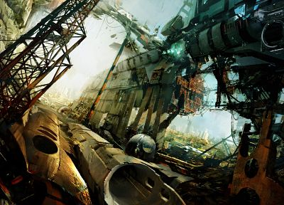 futuristic, science fiction, artwork, machinery, Daniel Dociu, construion site - desktop wallpaper