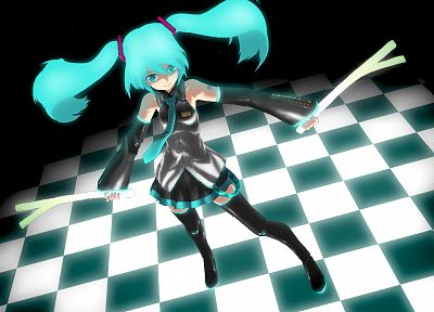 Vocaloid, Hatsune Miku, twintails, aqua hair, detached sleeves - related desktop wallpaper