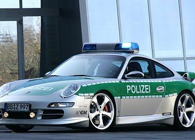 Porsche, cars, police - desktop wallpaper