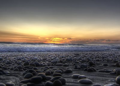 water, sunset, landscapes, nature, coast, waves, rocks, pebbles - related desktop wallpaper