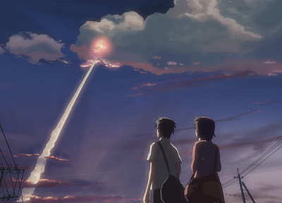 Makoto Shinkai, 5 Centimeters Per Second, artwork, contrails - random desktop wallpaper