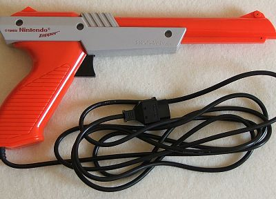 Nintendo, orange, nes game console, Zapper - desktop wallpaper
