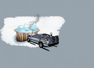 minimalistic, Back to the Future, DeLorean DMC-12 - random desktop wallpaper