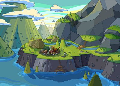 mountains, landscapes, illustrations, Adventure Time, rivers - desktop wallpaper