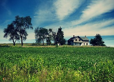 landscapes, houses, fields, farmhouse, farms - random desktop wallpaper