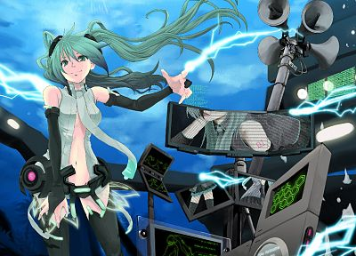 Vocaloid, Hatsune Miku, aqua eyes, aqua hair, Miku Append, anime girls, Vocaloid Append, detached sleeves - desktop wallpaper