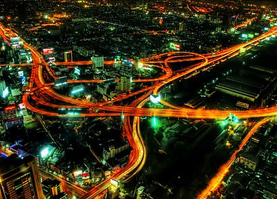 cityscapes, night, urban, roads, city lights - desktop wallpaper