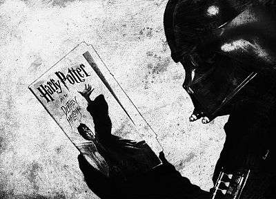Darth Vader, reading, funny, illustrations, books, Harry Potter and the Deathly Hallows - desktop wallpaper