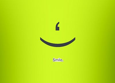 green, text, smiling, simple background, green background - desktop wallpaper