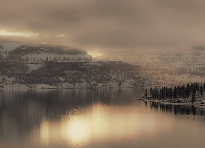 water, clouds, landscapes, nature, winter, snow, trees, forests, fog, panorama, lakes - related desktop wallpaper