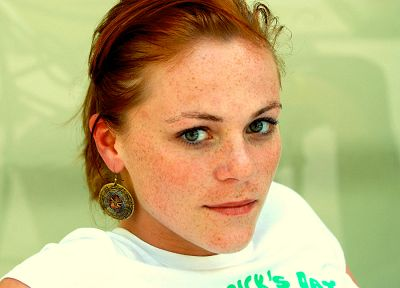women, redheads, freckles, green eyes, earrings, faces - related desktop wallpaper