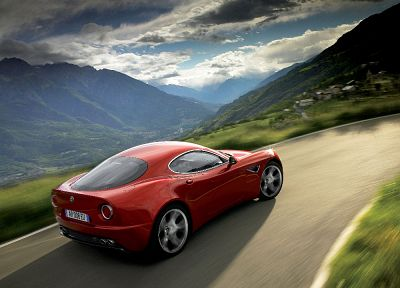 mountains, red, cars, Alfa Romeo, roads, vehicles, motion blur, villages, Alfa Romeo 8C, Alfa Romeo 8C Competizione, rear angle view - related desktop wallpaper