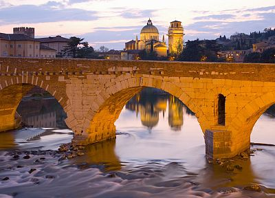 bridges, churches, Italy, The River, Verona, Veneto, Ponte Pietra - random desktop wallpaper