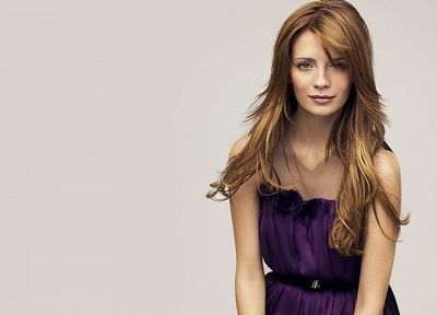 women, actress, Mischa Barton, purple dress - desktop wallpaper
