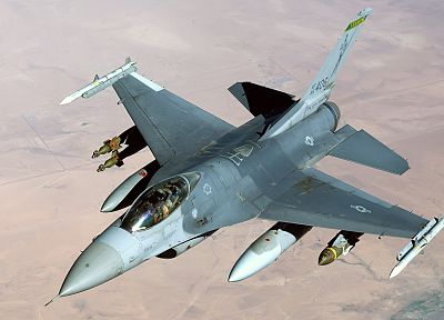 aircraft, military, deserts, planes, F-16 Fighting Falcon - desktop wallpaper