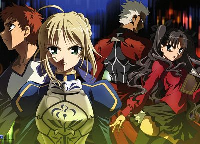 Fate/Stay Night, Tohsaka Rin, Emiya Shirou, Saber, Archer (Fate/Stay Night), Fate series - related desktop wallpaper