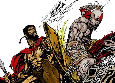 video games, movies, 300 (movie), Sparta, fight, God of War, crossovers, white background - desktop wallpaper