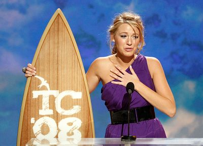 women, Blake Lively, surfboards, purple dress - random desktop wallpaper
