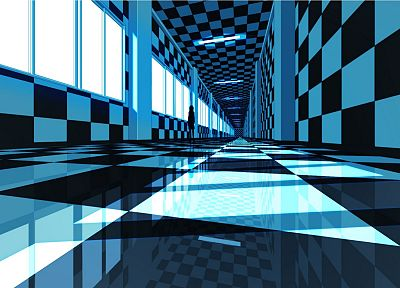 indoors, hallway, interior, checkered, artwork, reflections, windows - desktop wallpaper