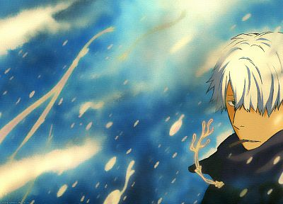 Mushishi, anime boys, Ginko, cigarettes, white hair, windy - random desktop wallpaper