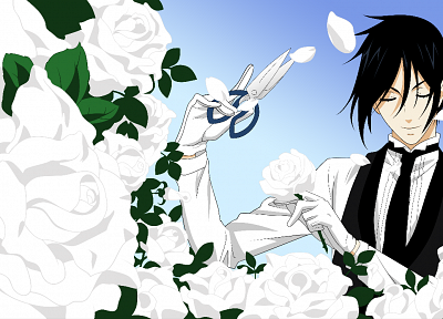 brunettes, white, flowers, scissors, tie, Kuroshitsuji, Sebastian Michaelis, flower petals - random desktop wallpaper