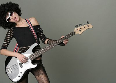 women, bass guitars, afro - random desktop wallpaper