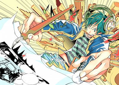 headphones, Bakuman, drawings, anime boys, manga, Mashiro Moritaka - random desktop wallpaper