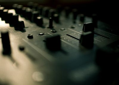 music, mixing tables, audio, DJs, sound, macro - desktop wallpaper