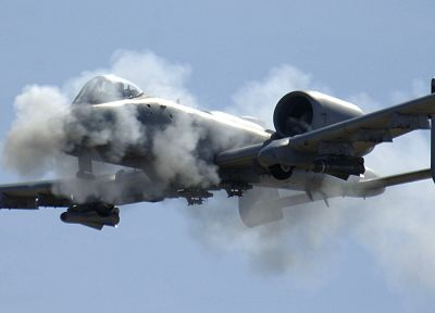 aircraft, military, smoke, Warthog, cannons, vehicles, A-10 Thunderbolt II, A-10 - random desktop wallpaper