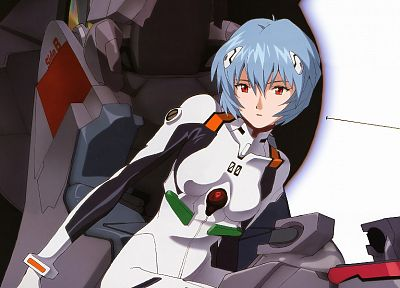 Ayanami Rei, Neon Genesis Evangelion, blue hair, red eyes, short hair, bodysuits, anime girls - related desktop wallpaper