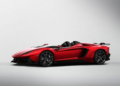 red, cars, Lamborghini, concept art, vehicles, convertible, Lamborghini Aventador, red cars, white background, cabrio, Lamborghini Aventador Jota, front angle view - desktop wallpaper