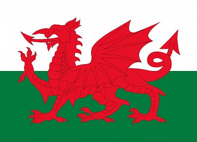dragons, flags, Wales - desktop wallpaper