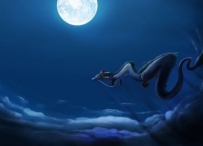 Hayao Miyazaki, movies, dragons, night, Spirited Away, Moon, anime, skyscapes - desktop wallpaper