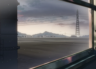 artistic, trains, Makoto Shinkai, power lines, 5 Centimeters Per Second, vehicles, window panes - desktop wallpaper