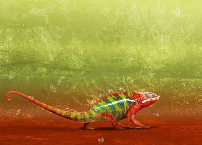 chameleons, artwork - desktop wallpaper