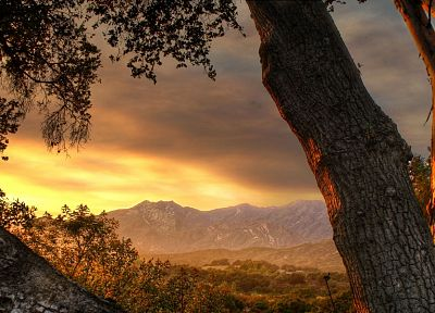 sunset, mountains, landscapes, trees, valleys, HDR photography - related desktop wallpaper