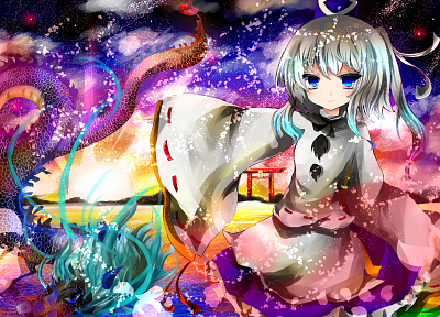 video games, Touhou, dragons, multicolor, torii, hats, Japanese clothes, Mononobe no Futo - related desktop wallpaper