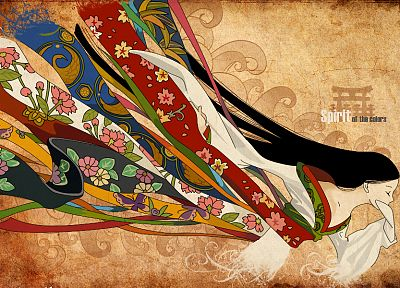brunettes, abstract, multicolor, long hair, kimono, closed eyes, Japanese clothes - random desktop wallpaper