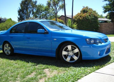 blue, cars, grass, Ford Falcon, side view, Ford BA Falcon XR6, blue cars, Ford Australia - related desktop wallpaper