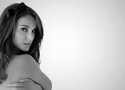 women, actress, Natalie Portman, monochrome, white background - desktop wallpaper