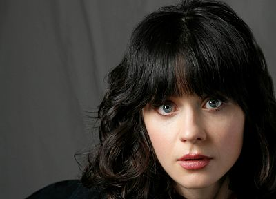 brunettes, women, close-up, eyes, blue eyes, actress, Zooey Deschanel, long hair, faces - desktop wallpaper