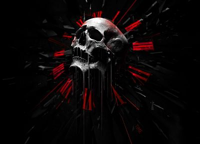 abstract, skulls, black, dark, red, white - related desktop wallpaper