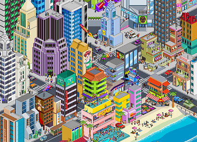 Batman, Robin, cityscapes, architecture, buildings, pixel art, isometric - desktop wallpaper