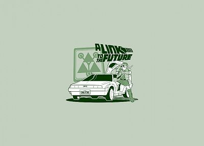 cartoons, Link, cars, comics, funny, Back to the Future, The Legend of Zelda, spoof, Doc Brown, Marty McFly, DeLorean DMC-12 - desktop wallpaper
