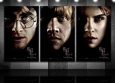 Emma Watson, Harry Potter, Harry Potter and the Deathly Hallows, Daniel Radcliffe, Rupert Grint, Hermione Granger, movie posters, Ron Weasley, faces, men with glasses - desktop wallpaper