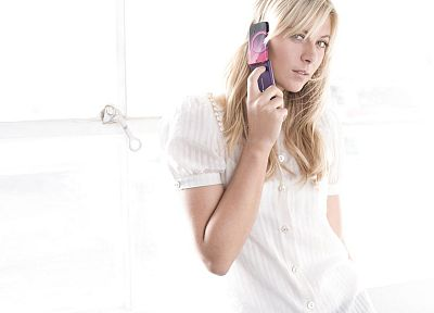 blondes, women, Maria Sharapova, cellphones - random desktop wallpaper