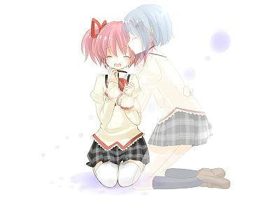 school uniforms, blue hair, pink hair, Mahou Shoujo Madoka Magica, Miki Sayaka, Kaname Madoka, anime, crying, simple background, anime girls - random desktop wallpaper