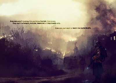 war, text, soldier, smoke, quotes, gas masks, The Dark Knight - related desktop wallpaper